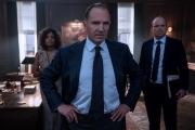 M (Fiennes), Moneypenny (Harris) & Tanner (Kinnear)