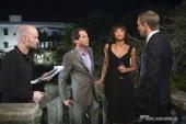 V.l.n.r.: Regisseur MARC FORSTER mit den Hauptdarstellern MATHIEU AMALRIC (Dominic Greene), OLGA KURYLENKO (Camille) und DANIEL CRAIG (James Bond) am Set.