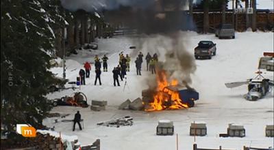 Erste Stunt- und Testaufnahmen in Obertilliach - ein in Flammen aufgehendes Auto © ORF