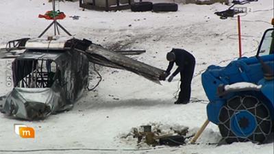 Erste Stunt- und Testaufnahmen in Obertilliach - das ausgebrannte Flugzeug © ORF