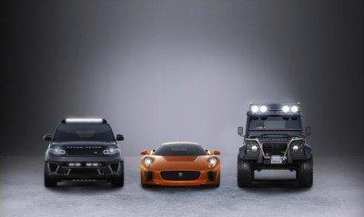 Der Jaguar C-X75s, der Range Rover Sport SVR und der neue Range Rover Defender sind im nächsten Bondabenteuer zu sehen. SPECTRE © 2015 Danjaq, LLC, United Artists Coporation, Columbia Pictures Industries Inc. All rights reserved.